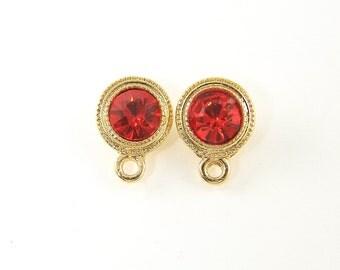 Red Rhinestone Earrings Posts with Loop Gold Frame Stud Earring Findings |R11-14|2