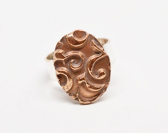 Bronze contrasting texture swirl pattern oval & sterling silver filled adjustable ring band