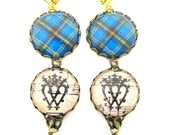 Scottish Tartan Jewelry - Ancient Romance - Bell Ancient Tartan Earrings with Luckenbooth Charm on Vintage Sheet Music and Czech Crystals