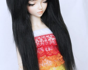 "MSD BJD Doll wig 7"" black and red streak long in front fake fur wig MonstroDesigns"