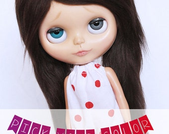 """Blythe Doll wig 10"""" Long in front Pick Your Color fake fur wig MonstroDesigns"""