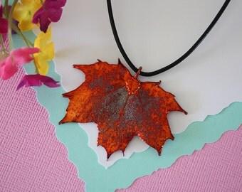 Copper Maple Leaf, Real Leaf, Sugar Maple, Maple Leaf, Canadian Leaf Copper, Real Maple Leaf Necklace, LL94