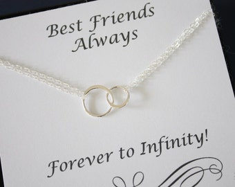 Friendship Necklace, Infinite necklace, Infinity Jewelry, Best friend Gift, Thank You Card, Sterling Silver Necklace, Karma, Circles