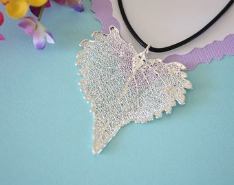 Real Cottonwood Leaf, Real Silver Leaf, Heart Shaped Leaf Necklace, Cottonwood Leaf, Sterling Silver, LL150