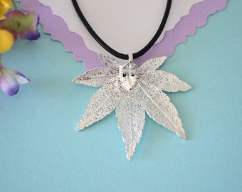 Real Japanese Maple Leaf, Real Silver Leaf, Real Maple Leaf Necklace, Maple Leaf, Sterling Silver, LL151