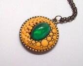 Golden Dragon Pendant Necklace, Handmade