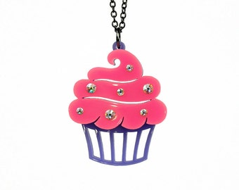"Sparkle Cupcake Necklace - SMALL 1.5"" - Acrylic Laser Cut Necklace (C.A.B. Fayre Original Design)"