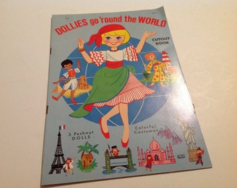 Vintage New Dollies Go 'Round the World Paper Doll Book #4533