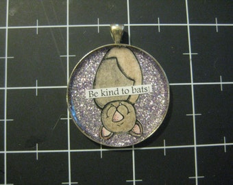 Be Kind to Bats Pendant, Light Lavender Glitter : 50% of the Proceeds Goes to Bat World Sanctuary