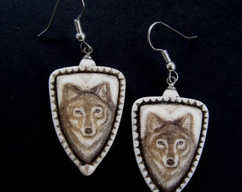 wolf scrimshaw technique earrings resin Moosup Valley Designs