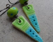 On the Dot ... Aqua and Lime Polymer Clay, Lampwork and Sterling Silver Wire-Wrapped Boho Earrings