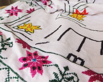 Vintage Prayer Rug Floral Embroidered Cloth White Pink Green Floral Embroidery Sewing Ephemera Boho Gypsy Style Decor