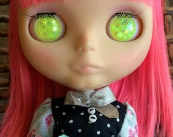 Lemon Yellow Star Resin Glitter Eye Chips for Blythe - Summer Neons Collection