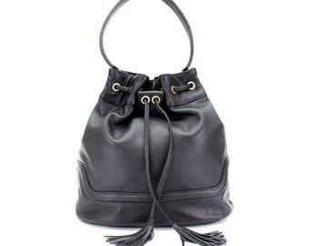 Black Leather Handbag, Drawstring Bucket Bag