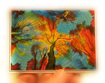 moon, Evening celebration, Aceo original, tree art, moon art, fine art photography, turquoise sky atc, autumn landscape #dahliahousestudios