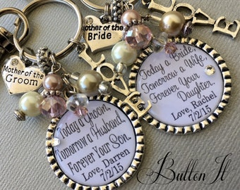 MOTHER of the GROOM gift, Mother of the bride, Blush pink, Today a Bride, Today a Groom, PERSONALIZED gift, Mother in Law, charm key chain