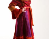 Mohair Sweater Coat, in Magenta, Red and Purple, Marilyn Style with Cowl Collar, Size Medium (10-12)