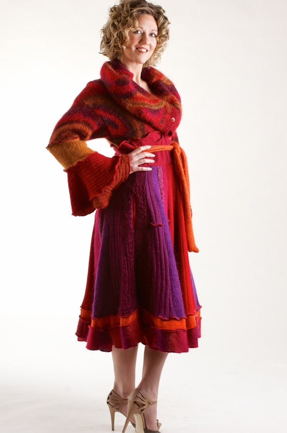 Mohair sweater coat in magenta red and purple marilyn style with