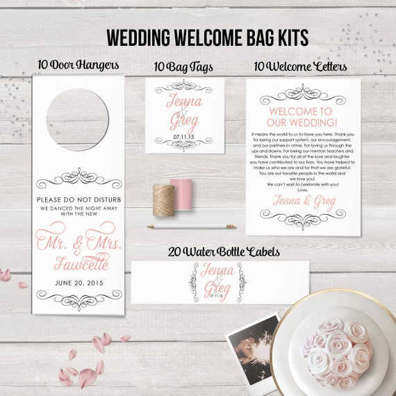 Wedding Welcome Bag Kit, Wedding Favors, Welcome Bags, Water Bottle ...
