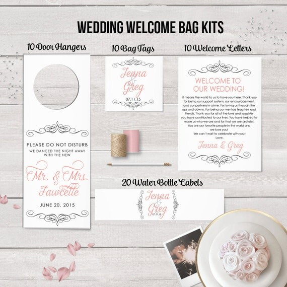 Wedding Favor Bag Labels : Wedding Welcome Bag Kit Wedding Favors Welcome Bags Water