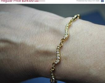 ON SALE SWAROVSKI Vintage Gold and Clear Pave Crystal Curved Link Bracelet, Beautiful! #184