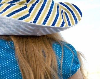 Navy Gold Stripe Sun Hat Nautical Coastal Womens Sun Hat Broad Brim Over the Top in Glam Metallic White Blue Reversible Summer Hat
