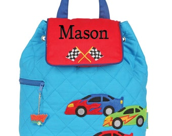 Boys Backpack Personalized Race Car Quilted Stephen Joseph Toddler Preschool