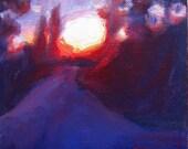 "Sunrise Oil Painting, Original Landscape on box canvas, Miniature, 6"" x 6"""