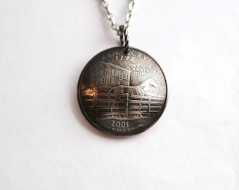 Domed Coin Necklace, Kentucky State Quarter Pendant, U.S. Quarter Dollar, 2001, My Old Kentucky Home, Racehorse Jewelry by Hendywood CPQE27