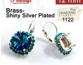 2pcs x Round 12mm Bezel Earrings For Setting Silver Plated w/ Turquoise Rhinestones. Fit Swarovski Rivoli 1122 (LBRD12TRSSP)