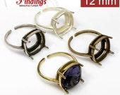 4pcs x Quality Cast 12mm Adjustable Ring Bezel Settings fit Swarovski 4470 crystals DIY .Choose Your Color (N1V)