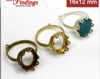1pc x 16x12mm  Adjustable Locking Ring Heart Bezel Cups for Setting, Choose your Finish (J9108V)