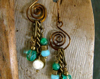 Genuine Pearl and Jade Dangle Earrings Blue Green and Antique Bronze Wire Work Wrapped   1.99 Shipping USA