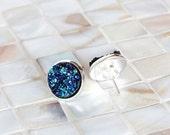 Blue druzy earrings, faux druzy earrings, drusy earrings, stud earrings, post earrings, silver earrings, bridesmaid earrings, sapphire blue
