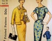 Vintage 1950s Dress Pattern Simplicity 2372 Bust 38 Sheath Dress Wiggle Dress Pattern Jacket Pattern