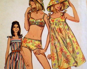1960s Vintage Mod Two-Piece Bikini Bathing Suit Pattern Simplicity 7046 Bust 32 Sundress Pattern Hat Pattern