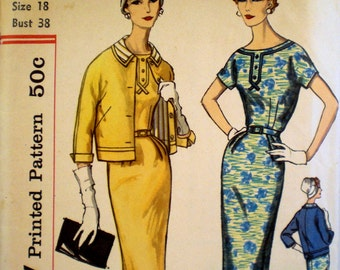 Vintage 1950s Dress Pattern Simplicity 2372 Bust 38 Sheath Dress Wiggle Dress Pattern Jacket Pattern