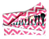 Large Makeup Brush Roll Holder, Chevron Hot Pink/White - In Stock Ready To Ship