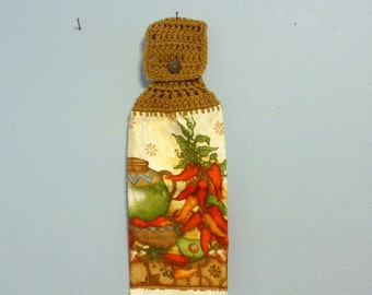 Hanging Kitchen Towel Peppers Chilli Red