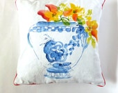 Chinoiserie Pillow, Floral Pillow, One of a Kind, Blue and White, Urn, Nasturtium Flowers, Watercolor Pillow, Pastel Colors, Red Piping