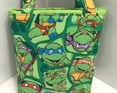 Teenage Mutant Ninja Turtles, Fabric Gift Tote Bag, Gift Wrap, Happy Birthday, Christmas, Turtle Cartoon Fabric, Children, TV, Movie