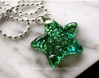 Star Necklace Multichromatic Emerald Green, Resin Star Necklace, Catch a Falling Star, Green Glitter Resin Jewelry Handmade by isewcute