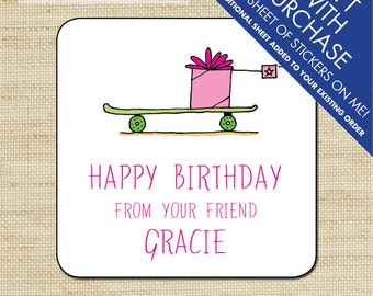 Kids Gift Label, Gift Tags, Birthday Stickers, Personalized Labels, Personalized Gift Stickers, Skateboard