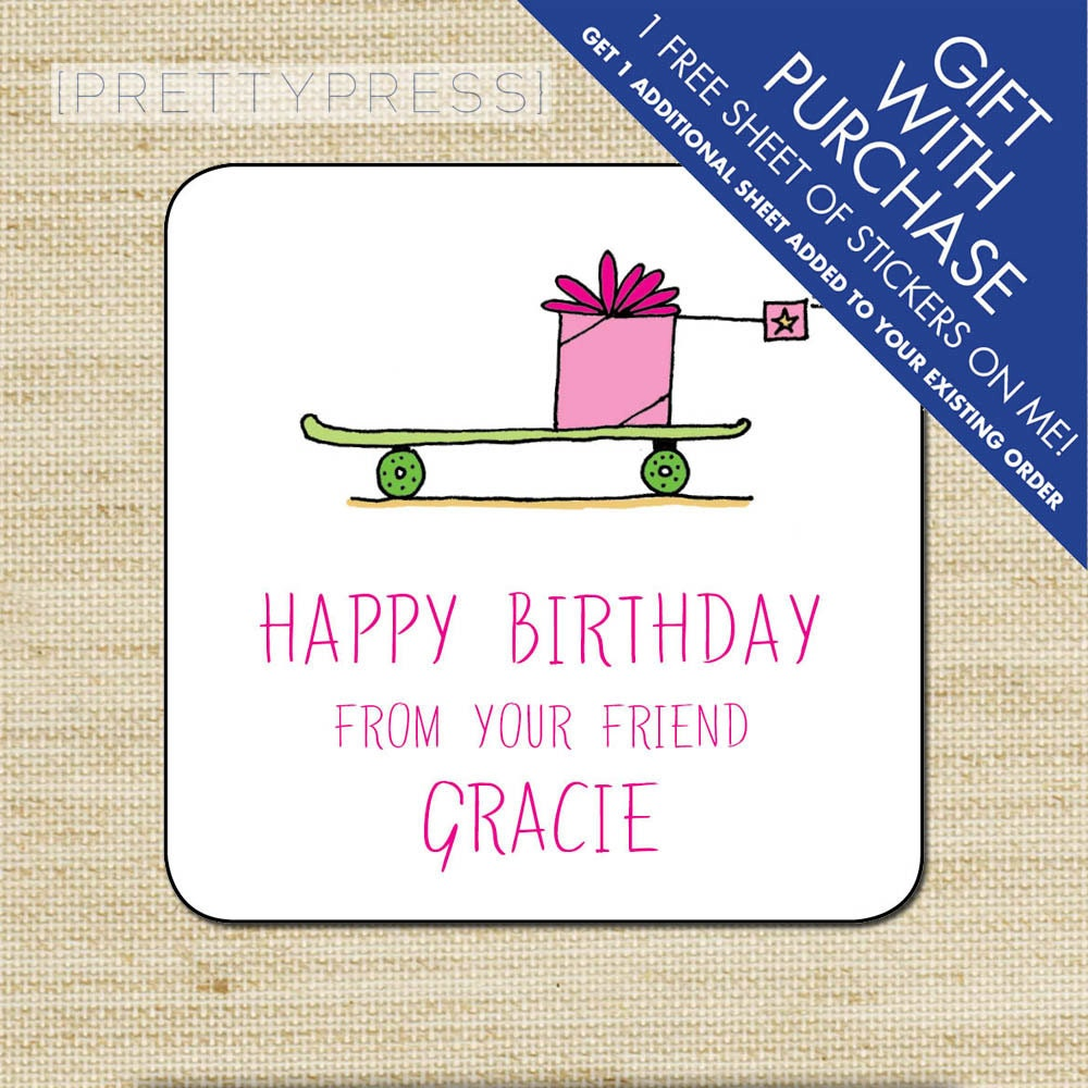 Kids Gift Label Gift Tags Birthday Stickers Personalized