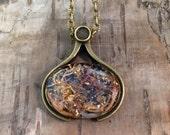 Lichen Moss Black Pink pendant - Woodland jewellery - Gold leaf resin- OOAK - Nature specimen necklace - Biology Botany -Forest jewellery