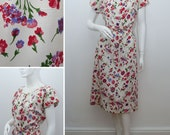 "Vintage Silk Dress TANNER of North Carolina NC by Dorothy Cox Cream Floral Belted Day Dress 41"" Bust 60s Midi 1960s Size Large UK 16"