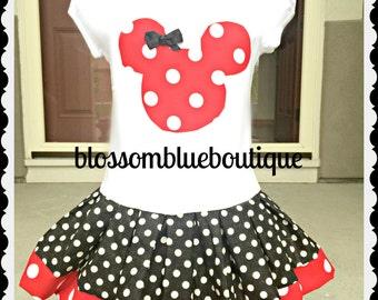 Minnie Mouse dress red black 12 months 18 months 24 months 2t 3t 4t 5 6/6X 7/8 10/12 14/16