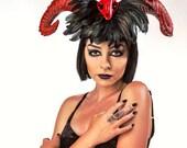 Halloween, Devil horns, Skull, Skull headdress, EDM, Burlesque, Pinup, Halloween, Horn headband, Devil horn, Red horn