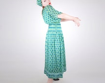 70s Treacy Lowe Blue and Green Block Printed Silk Chiffon Indian Maxi Dress with Sash S