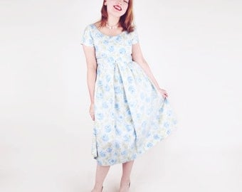 60s Beautiful Blue Roses Maternity Dress by Phil Jacobs
